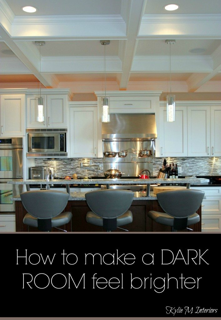 how to make a dark room, basement or family room feel brighter with lighting, paint and decor