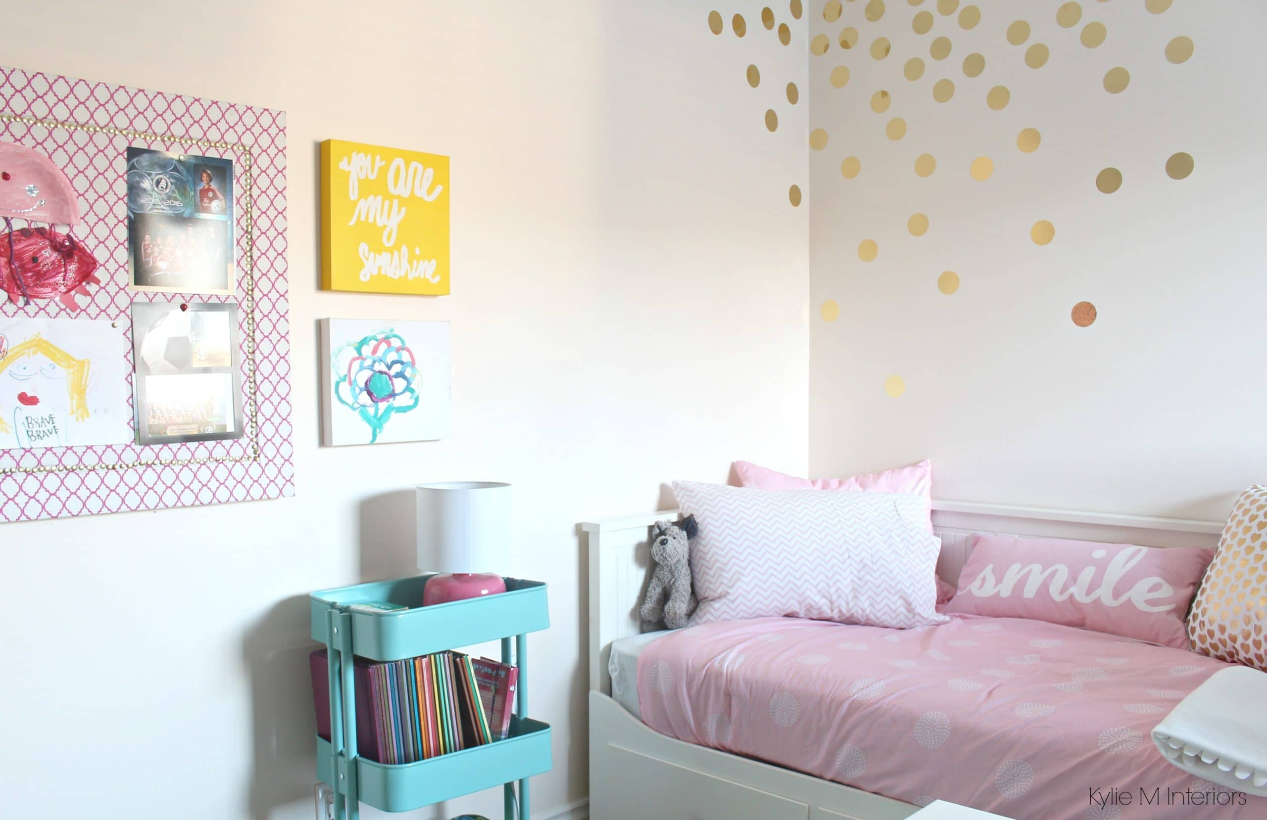 Ikea Raskog Cart In A Girls Bedroom With Pink Walls And Homemade Corkboard  With Fabric, Gold Circle Or Dot Vinyl Decals And Ikea Bed