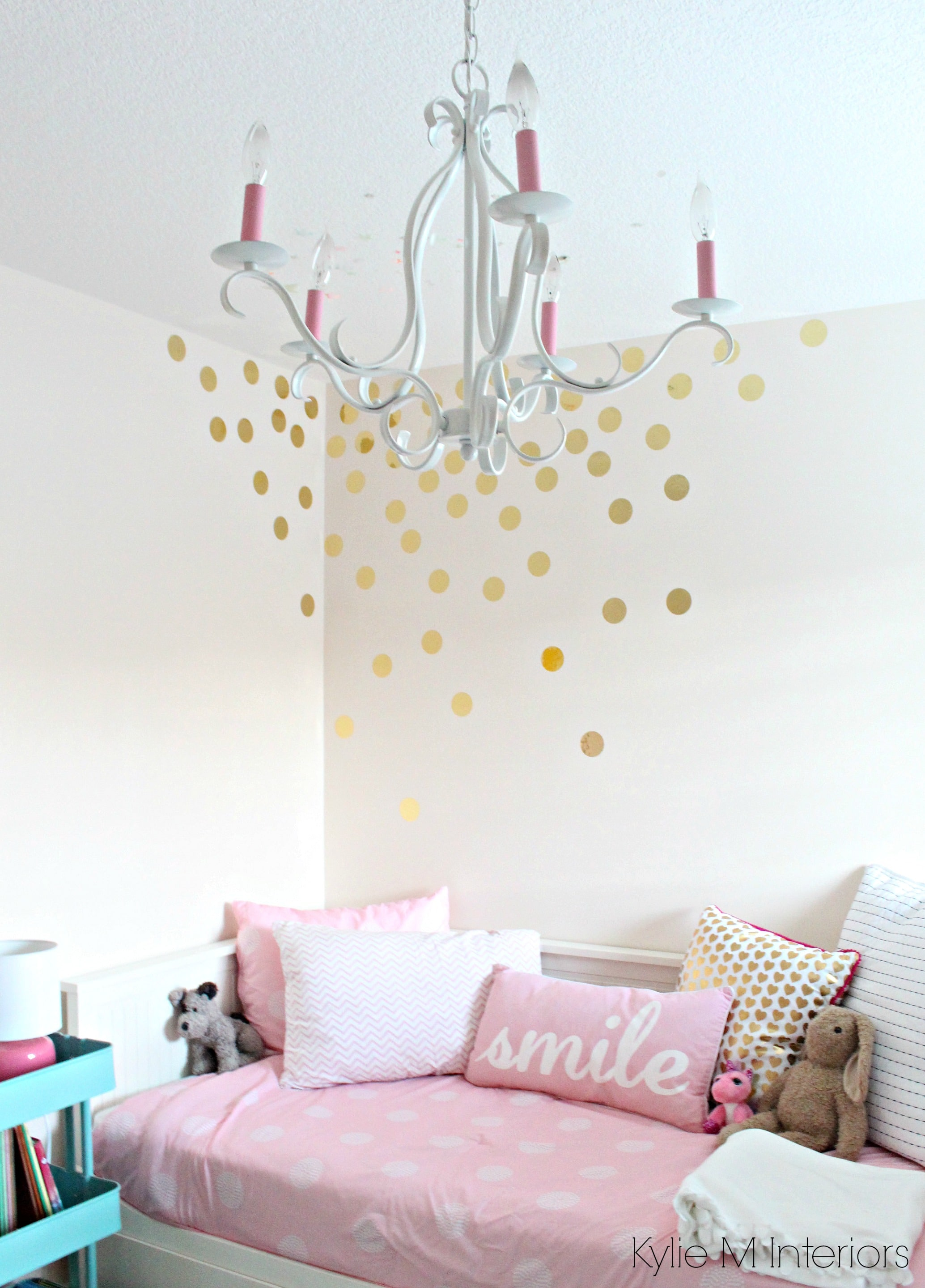 Little girls bedroom with pink bliss benjamin moore gold vinyl little girls bedroom with pink bliss benjamin moore gold vinyl raindrop decals on the wall with chandelier and decor cute for a nursery colour palette as arubaitofo Choice Image