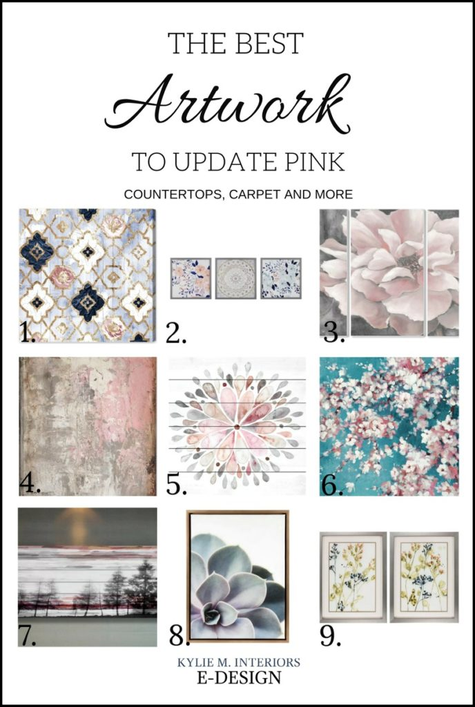 Artwork, decor to update pink carpet, countertops or a room. Kylie M E-design, online blog, decorating, paint color consulting
