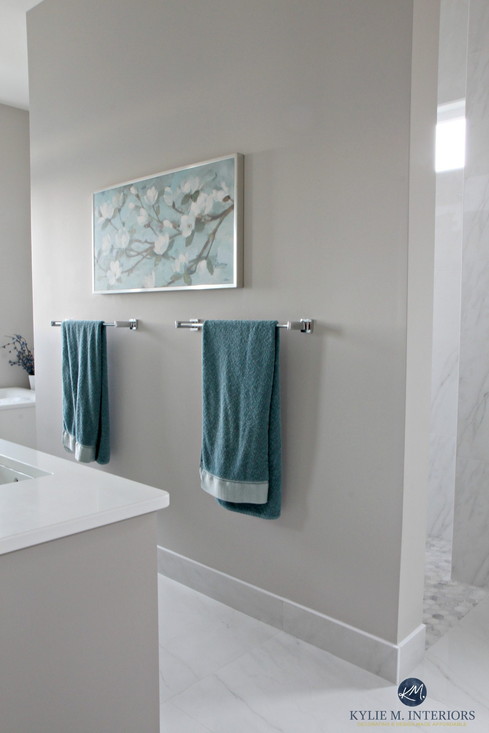 Bathroom With Marble Floor And Shower With Benjamin Moore Balboa Mist, Warm  Gray Or Greige Paint Colour. Kylie M Interiors E Decor Services And  Consulting