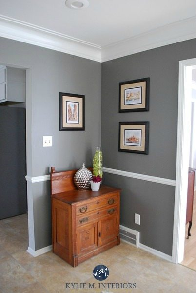 Benjamin Moore Chelsea Gray wtih chair rail, wood cabinet and home decor. Kylie M Interiors E-decor