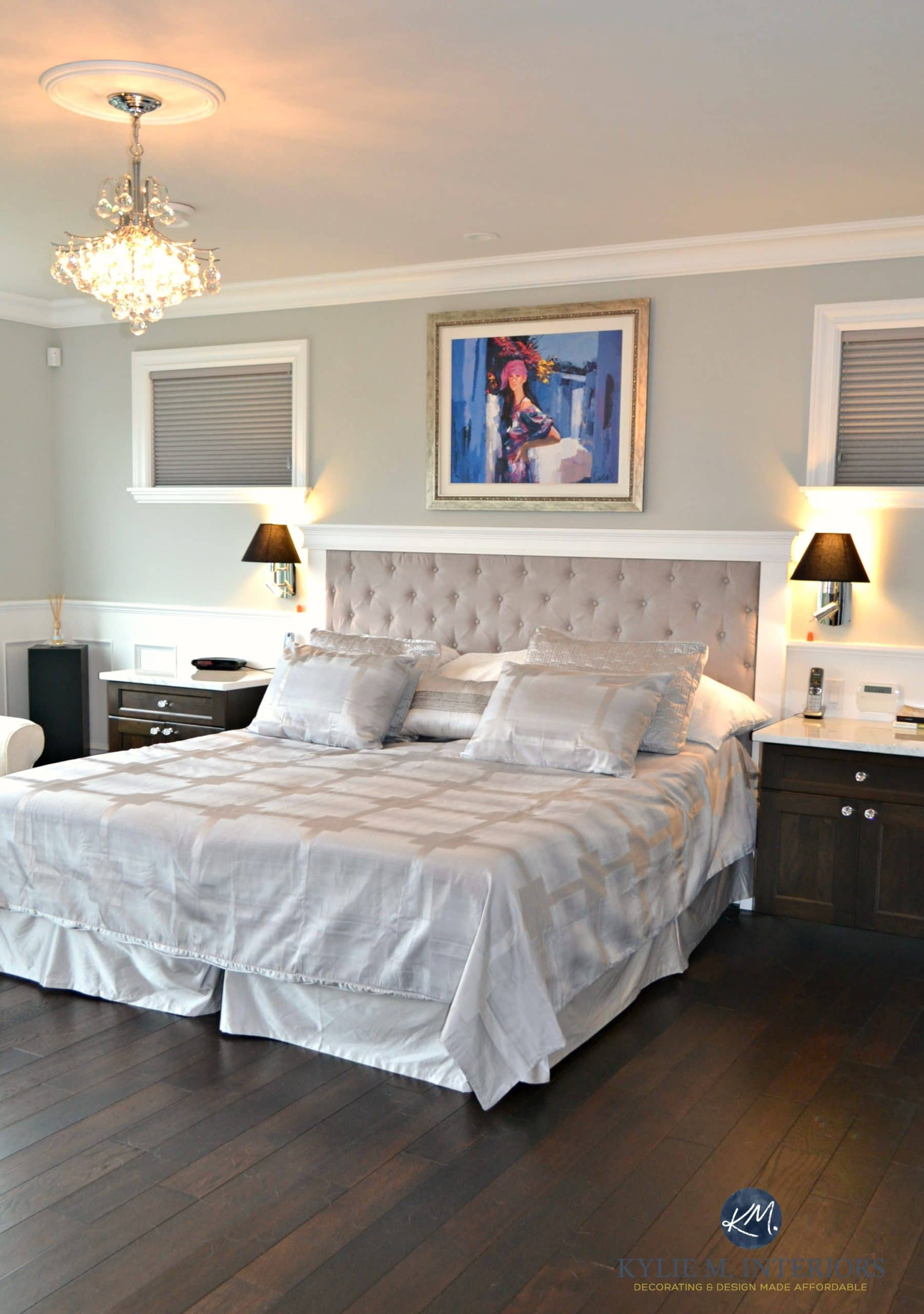 Benjamin Moore Revere Pewter In Glam Master Bedroom With