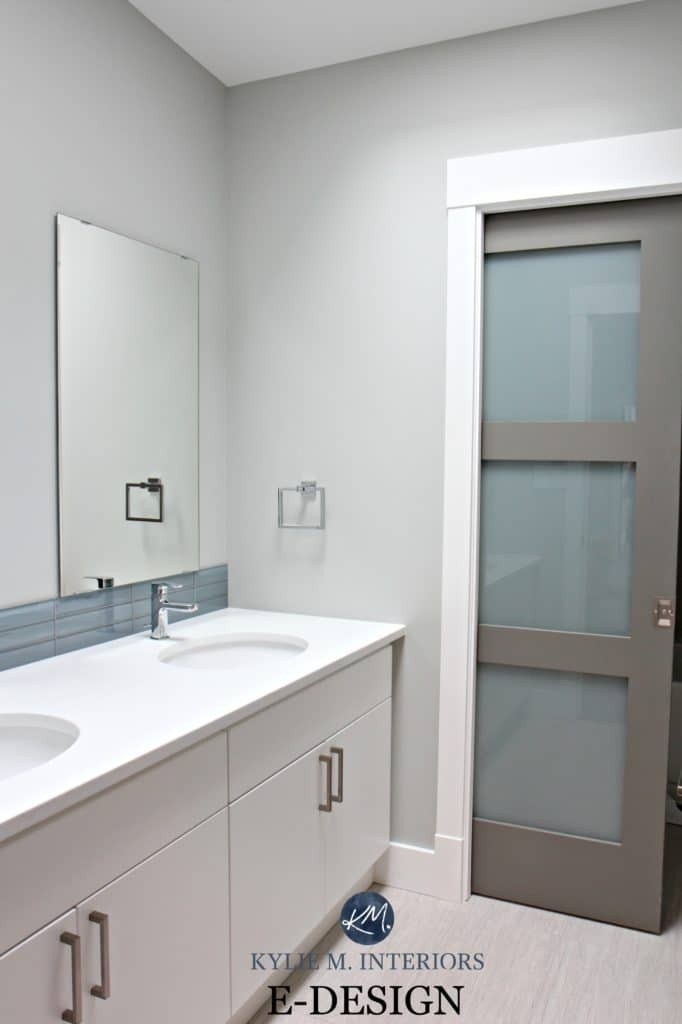 Benjamin Moore Stonington Gray and Chelsea Gray small bathroom, modern. Kylie M Interiors E-design, colour expert