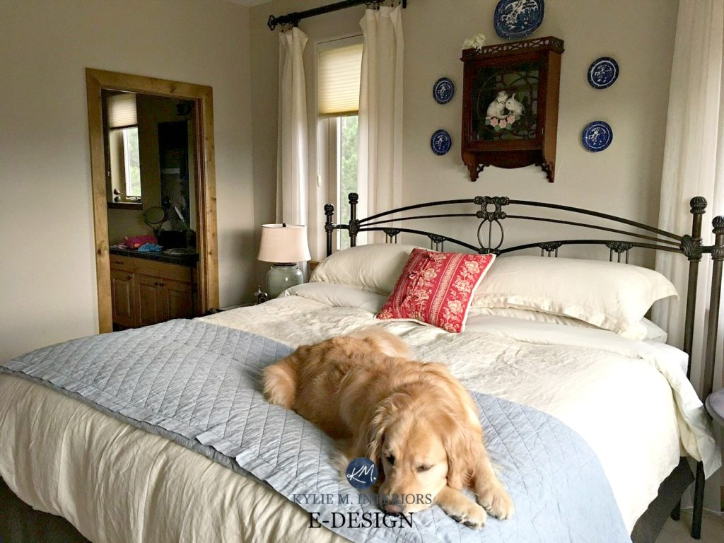 Sherwin Williams Accessible Beige in country farmhouse style guest bedroom, wood trim, neutral bed linens. Kylie M E-design and ONline Color consulting