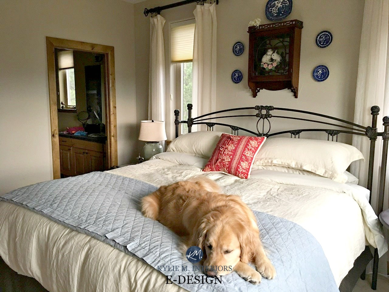 sherwin williams accessible beige in country farmhouse 15032 | sherwin williams accessible beige in country farmhouse style guest bedroom wood trim neutral bed linens kylie m e design and online color consulting