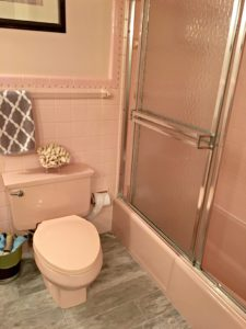 iDEAS TO UPDATE A PINK BATHROOM, CARPET, TOILET, TUB, COUNTERTOP, TILE AND MORE