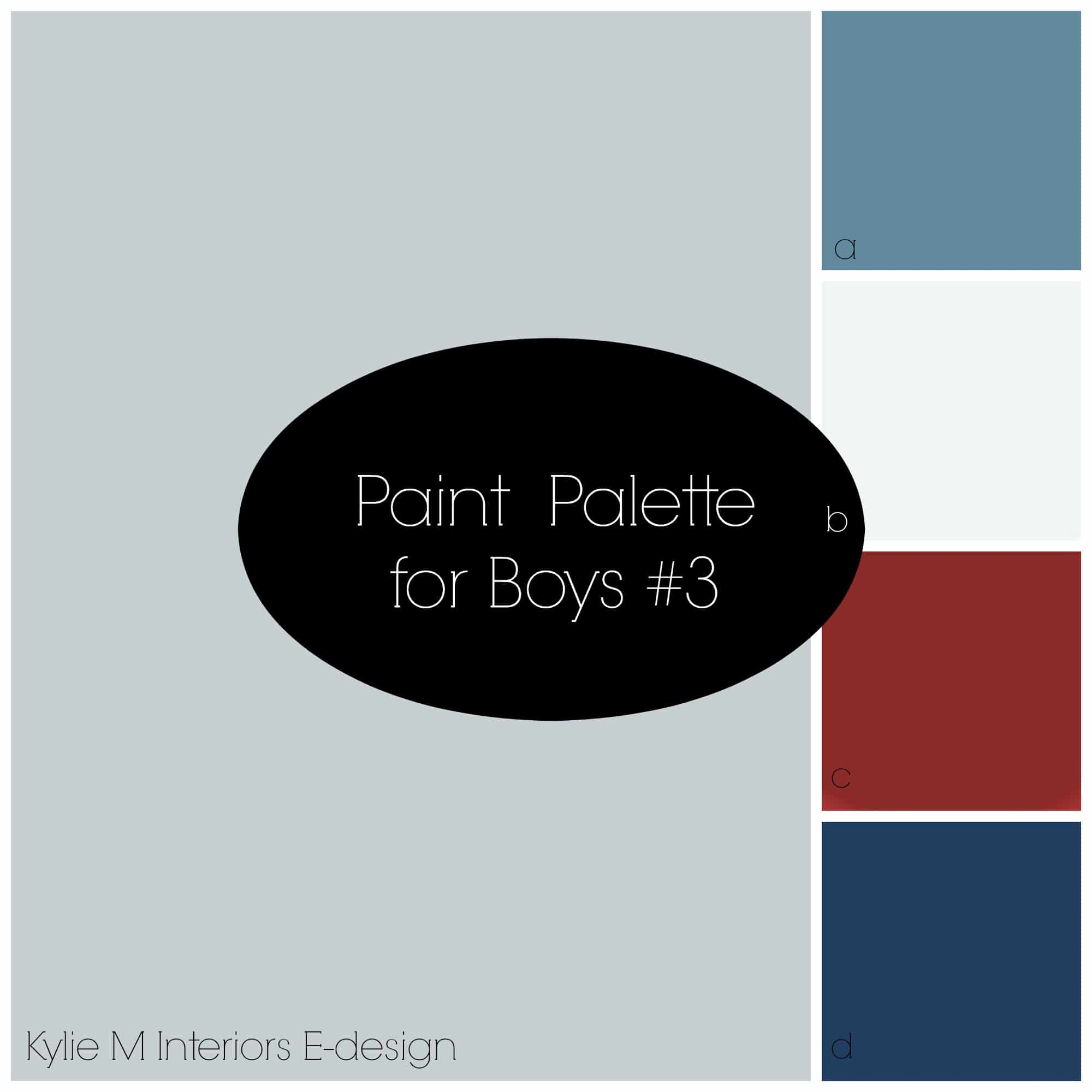 Best Paint Palette For A Boys Bedroom Using Gray Blue Navy Red And