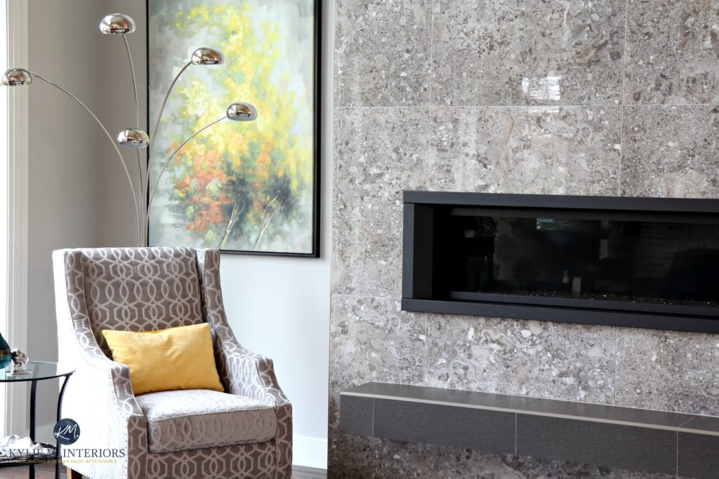 Contemporary living room. Sherwin Williams Repose Gray, tile fireplace surround with floating hearth and linear gas insert. Kylie M Interiors Decorating and Design Online and local in Nan