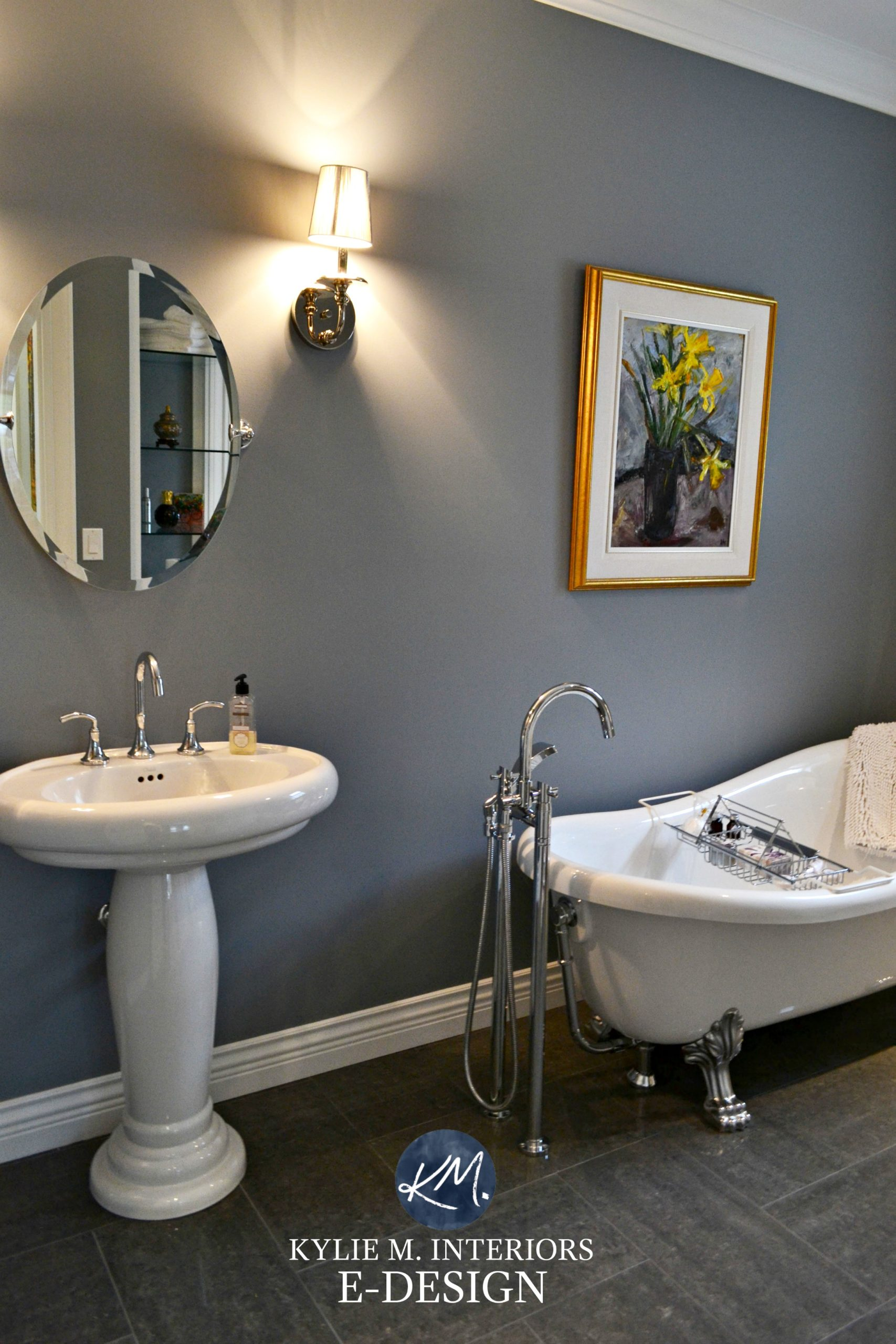 dark room bathroom with the best paint colour dior gray benjamin
