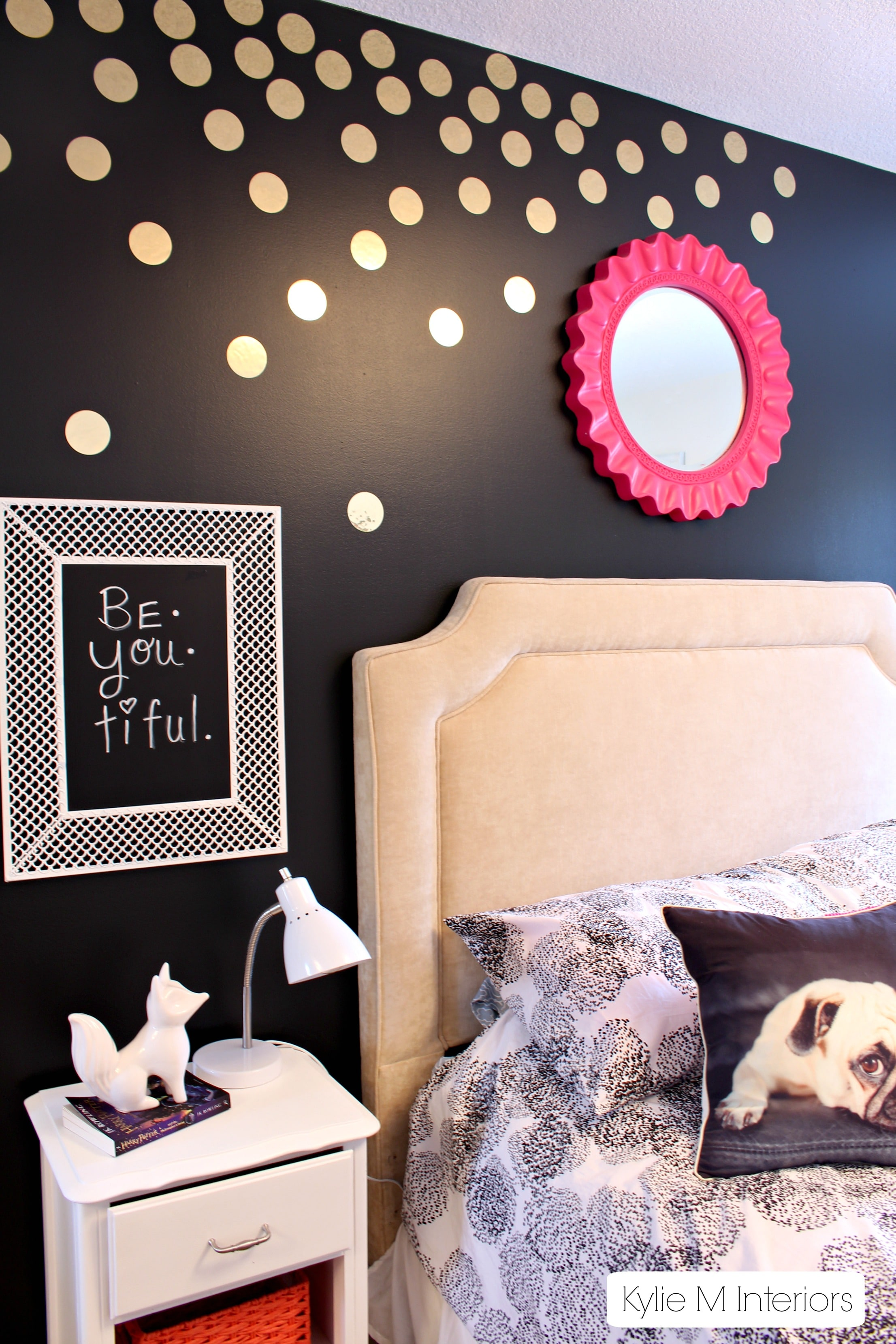 Gold polka dot decals on black feature wall in tween or for Polka dot bedroom designs