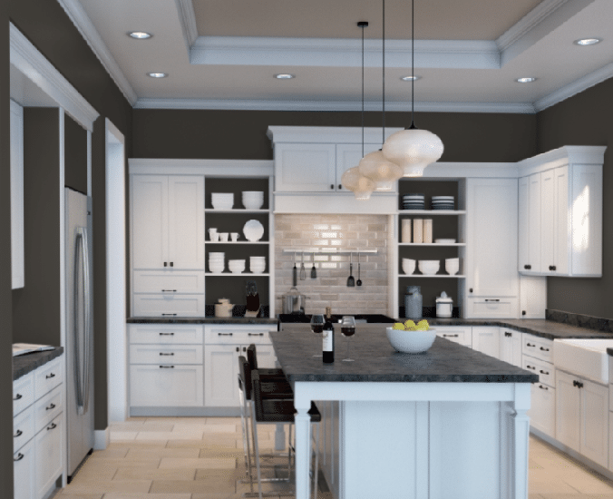 Sherwin Williams Urbane Brone in a dark kitchen with travertine floor, white cabinets. Sherwin Williams Color snap visualizer. Kylie M Interiors E-design info