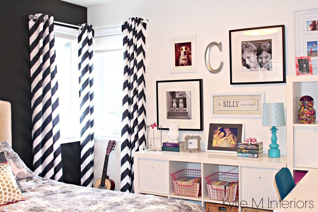 Teen or tween paint palette with black and white and pink. Benjamin Moore Simply White with decor and photo gallery wall. Ikea Kallax unit by Kylie M Interiors
