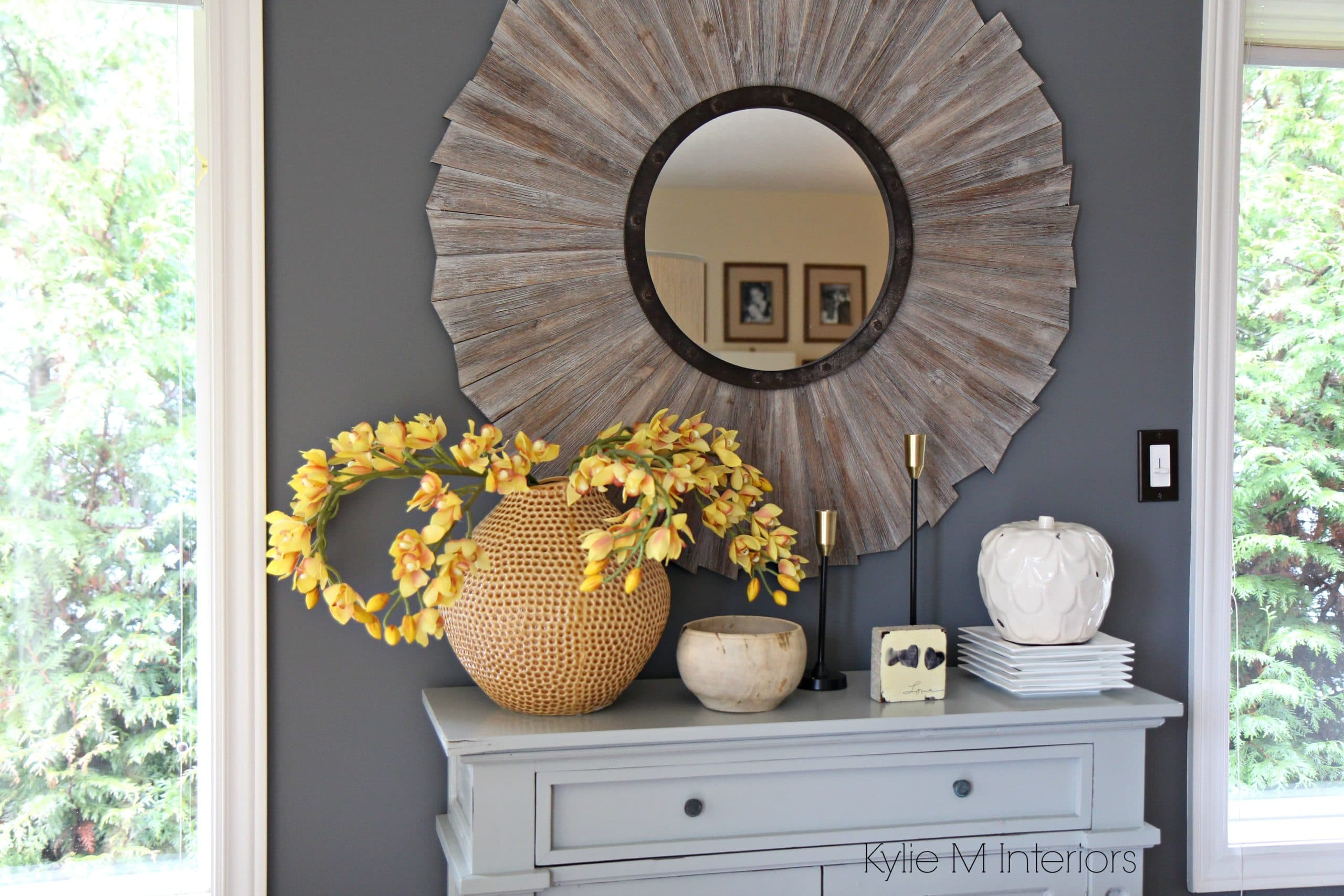Benjamin Moore Gray on feature wall in farmhouse or ...