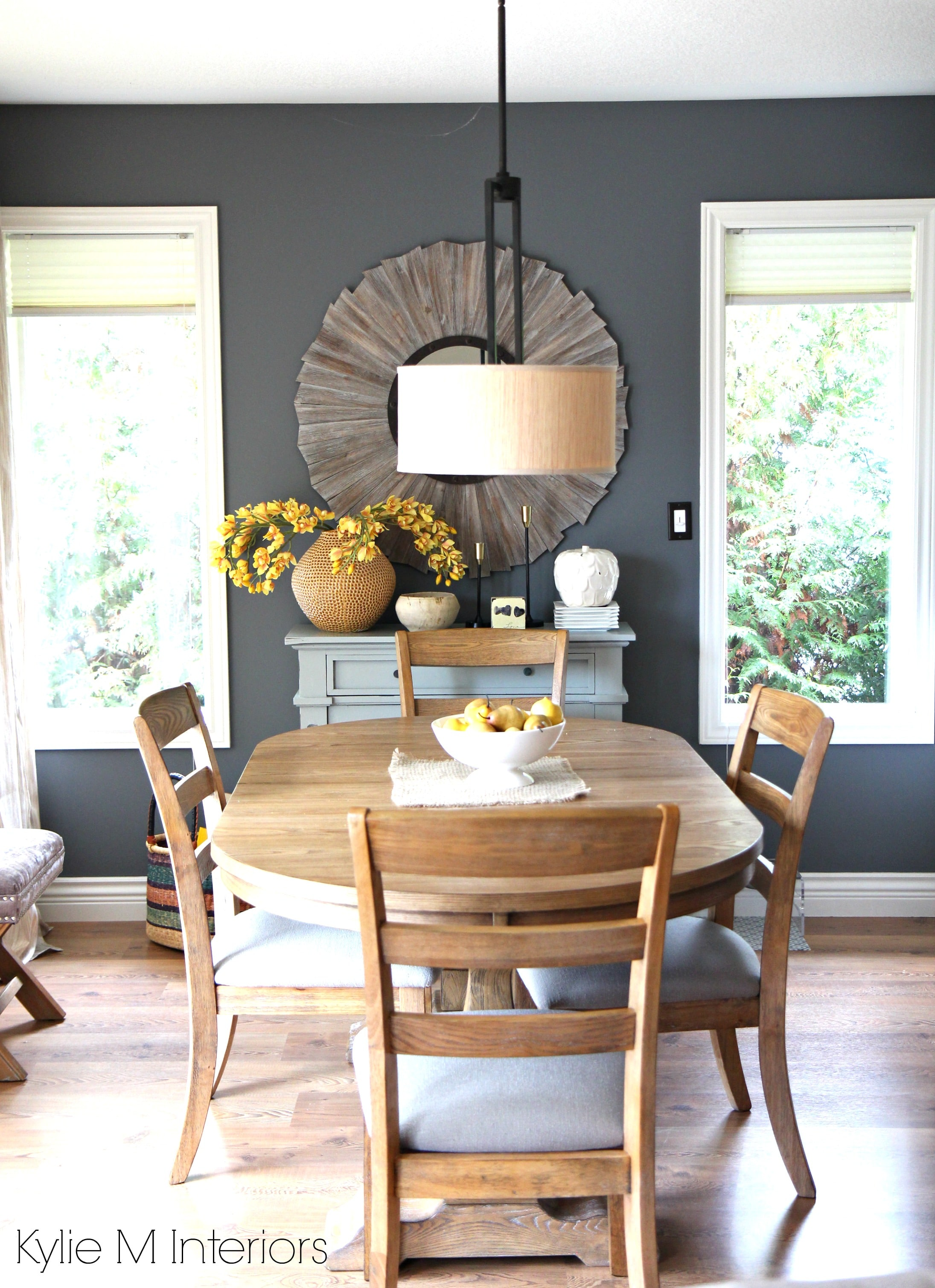 Modern Family Friendly Country Farmhouse Style Dining Room. Benjamin Moore  Gray With Blue And Purple Undertones And Warm Oak And Wood Tones With  Yellow And ...