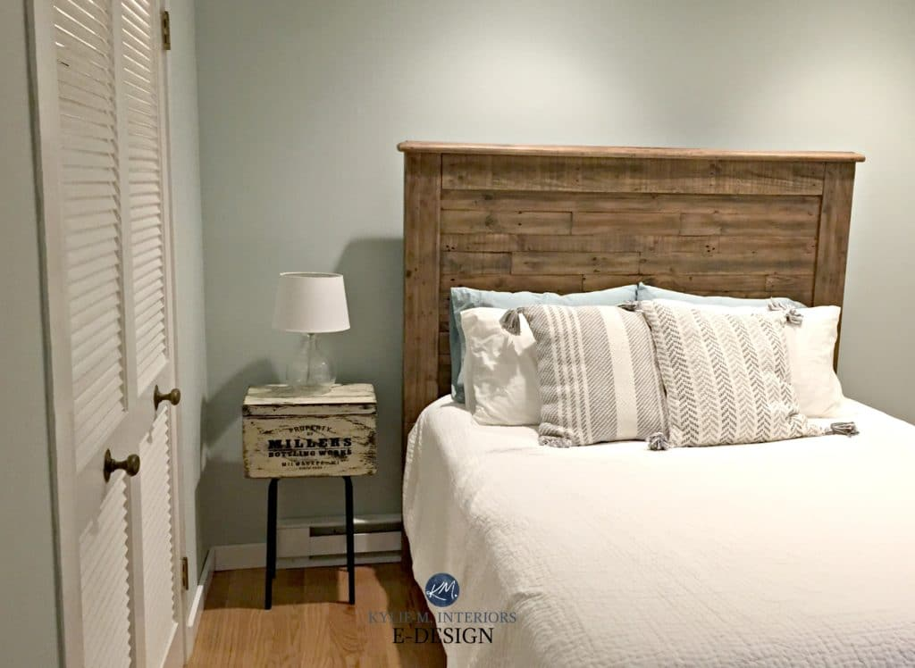 Sherwin Williams Sea Salt, best green blue paint colour in guest bedroom with wood headboad. Rustic style. Kylie M E-design