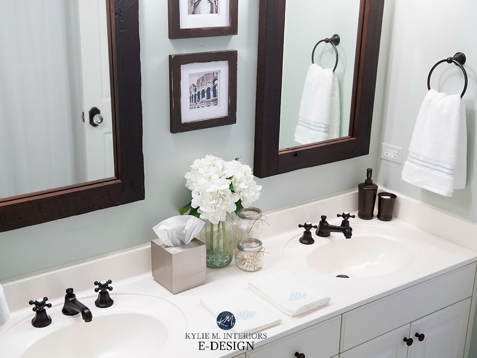 Sherwin Williams Sea Salt in bathroom with white countertop, dark wood mirror. Kylie m INteriors Edesign, paint colour review. Client photo