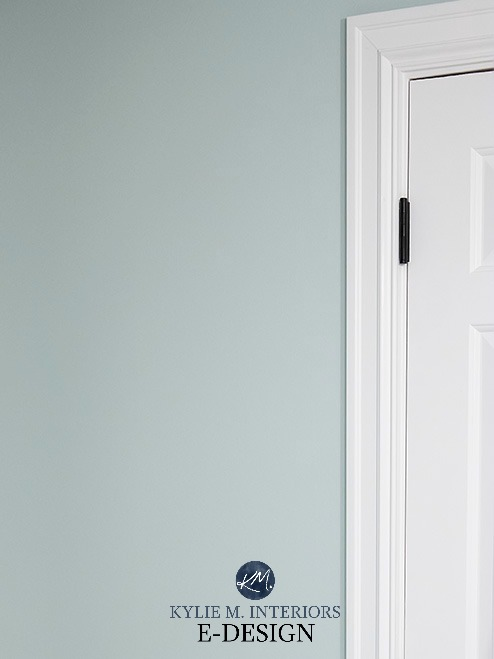 Sherwin Williams Sea Salt with white trim. Kylie M INteriors Edesign colour review