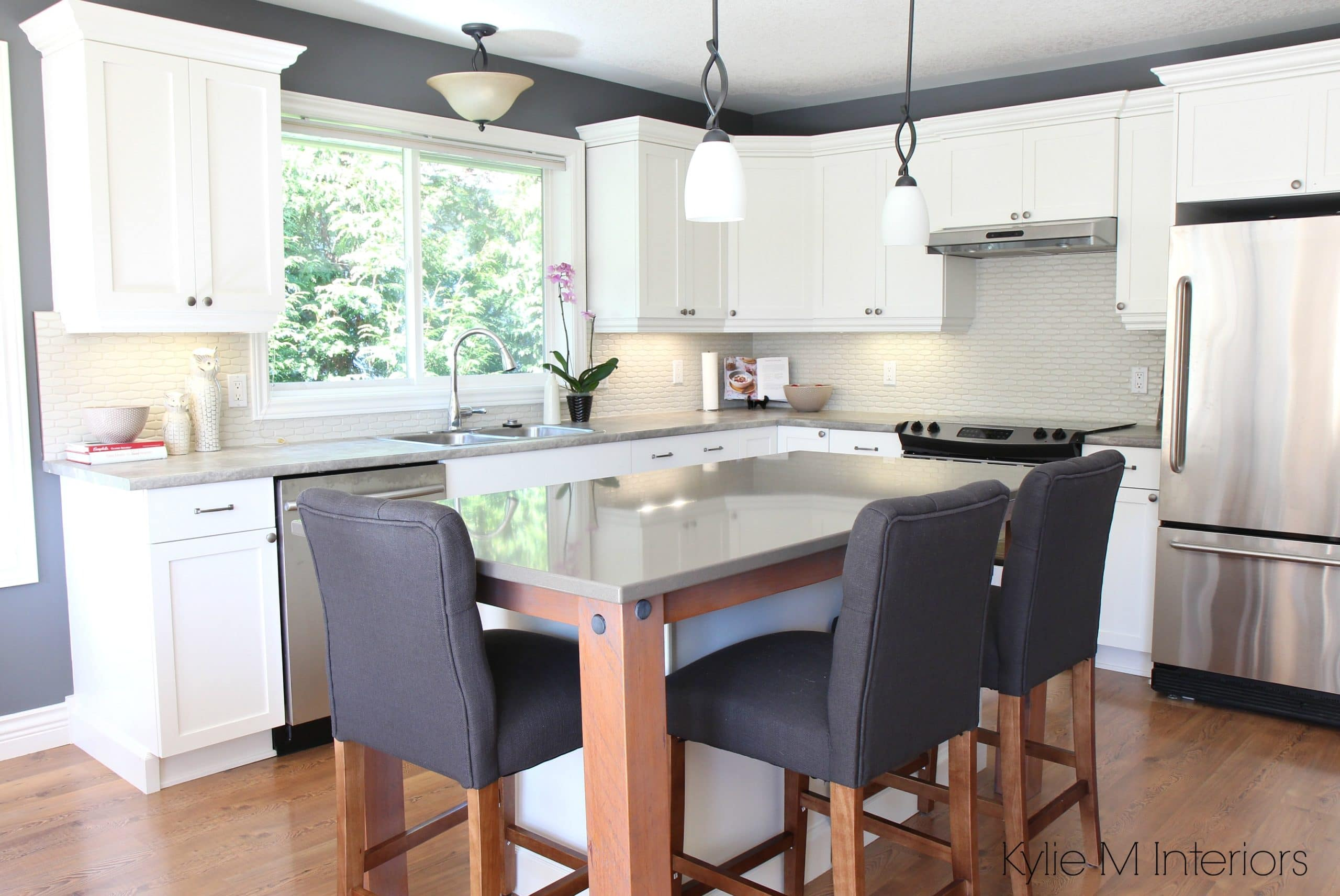 Maple Kitchen Remodel Cabinets Cloud White Gray Quartz Hexagon Backsplash Formica Soapstone And Rustic Wood Island Supports With Stainless Steel