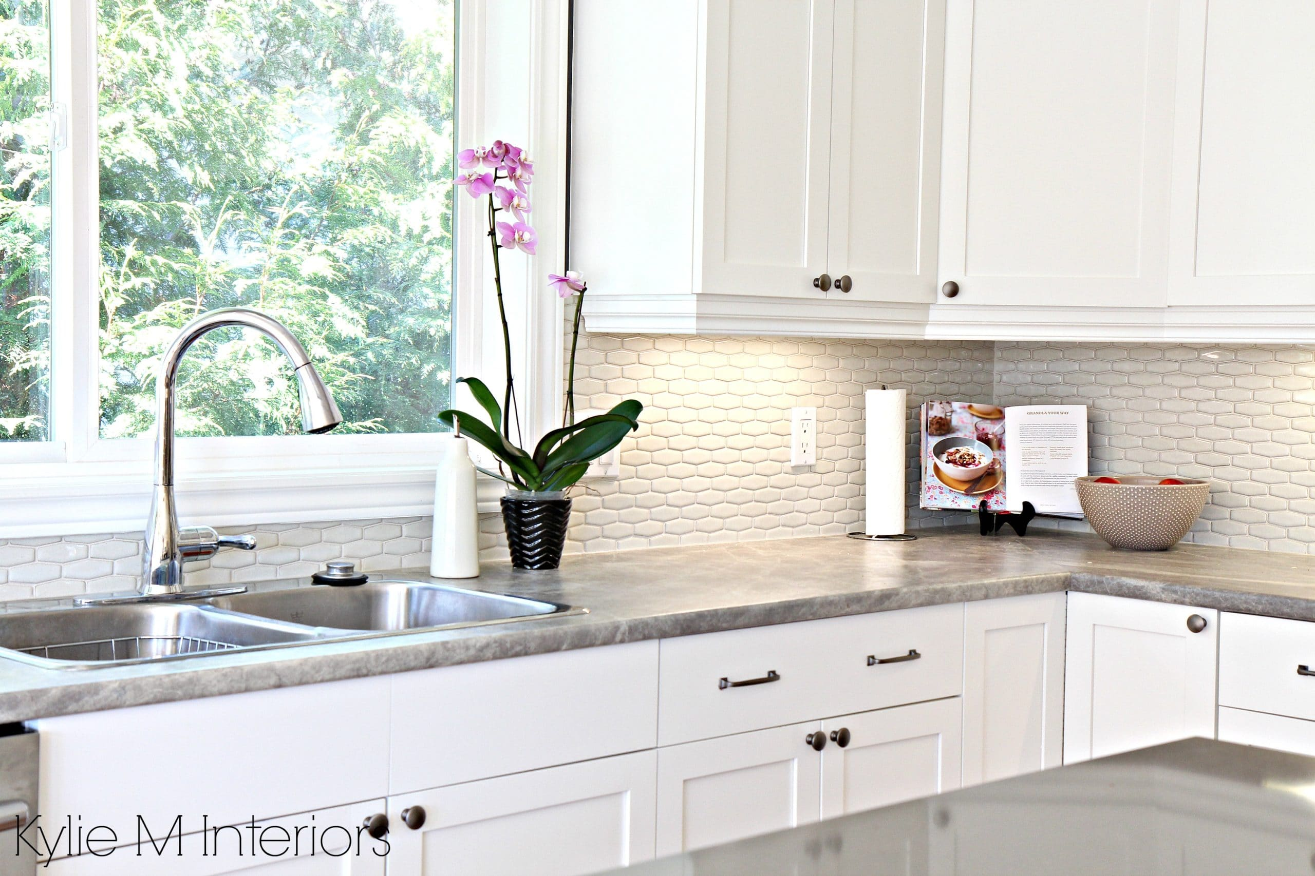hexagon subway tile backsplash. Maple cabinets painted Cloud White ...