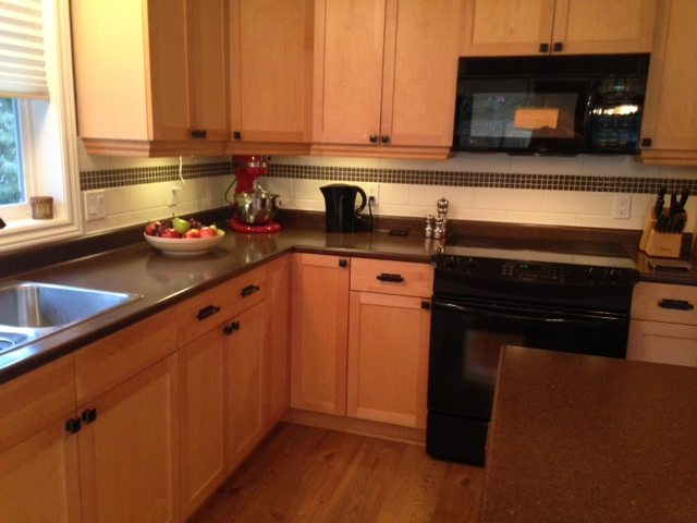 Our Kitchen Makeover - No More Maple! on Backsplash Maple Cabinets With Black Countertops  id=13207
