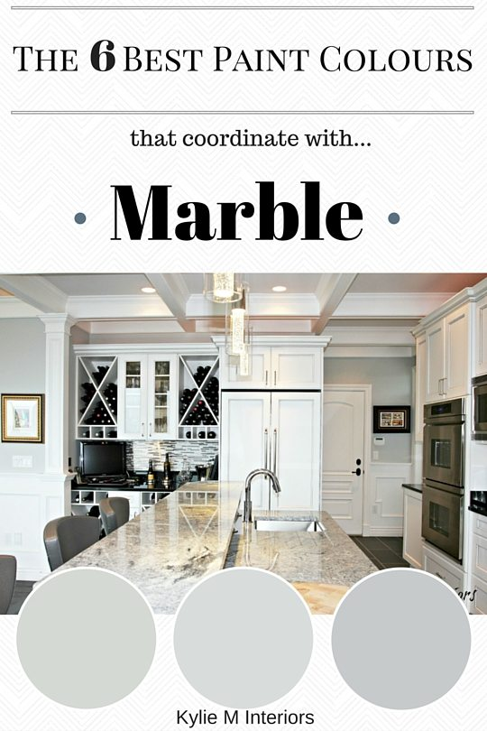 The best paint colours to coordinate with marble countertops or tile in bathroom or kitchen by Kylie M Interiors