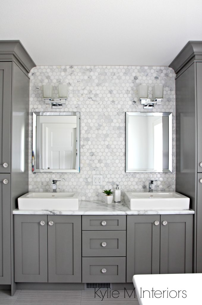 Double Vanity In Bathroom Painted Benjamin Moore Chelsea Gray - Gray cabinets with marble countertops