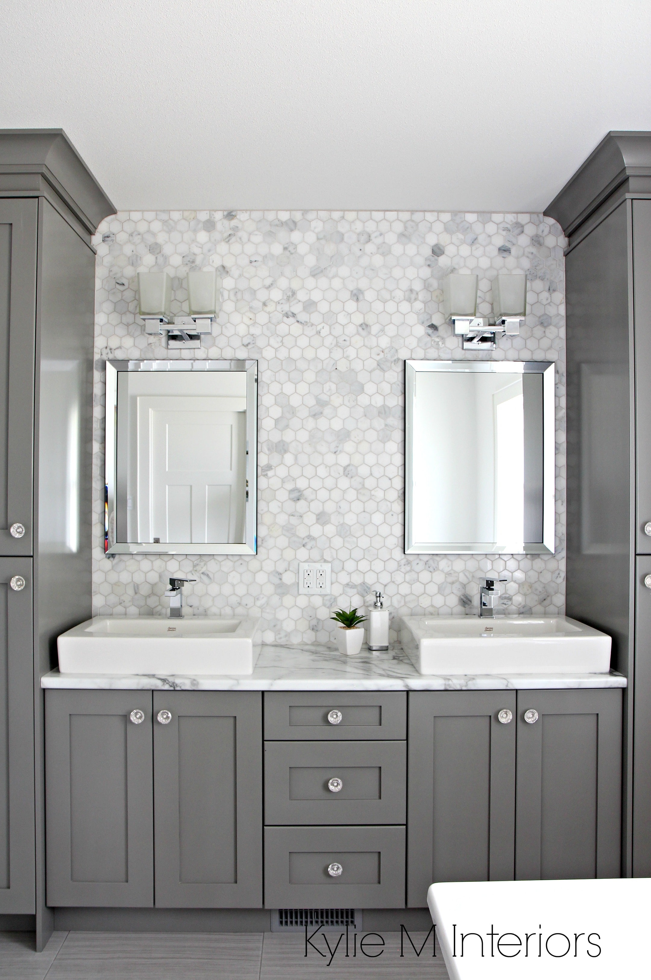 Double Vanity In Bathroom Painted Benjamin Moore Chelsea Gray Hexagon Mosaic Tile Backsplash Calacatta Marble Countertop By Formica Design By Kylie M Interiors