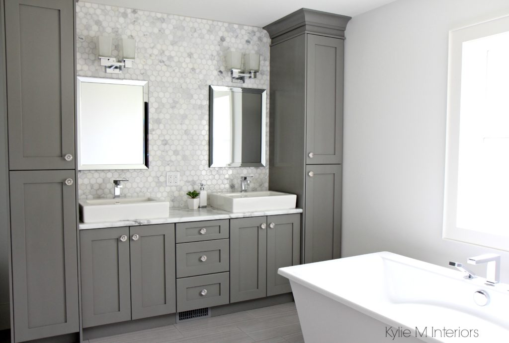 Double Vanity With Storage Towers Painted Chelsea Gray, Free Standing Tub,  Marble Mosaic Tile