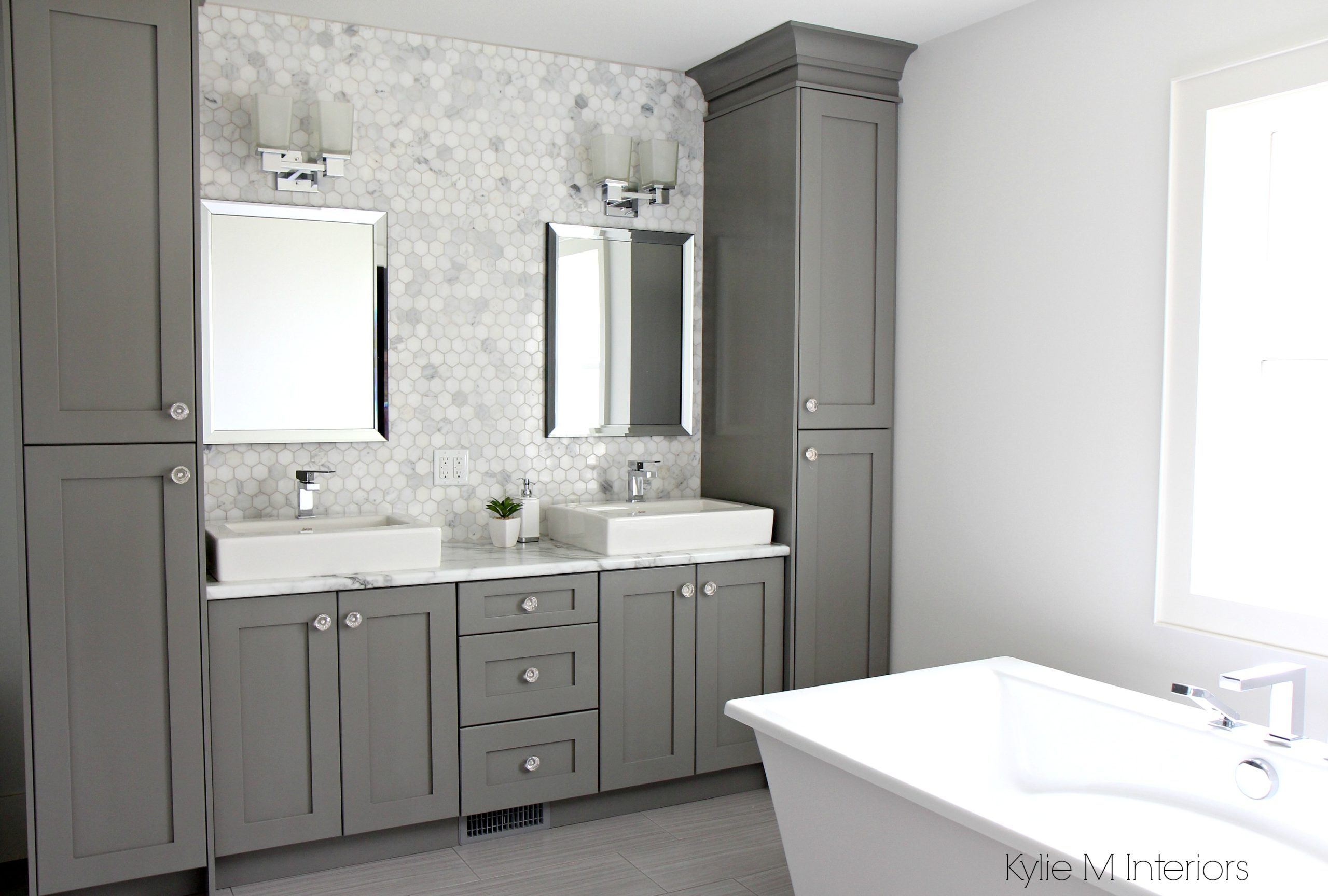 Double vanity with storage towers painted Chelsea Gray, free ...
