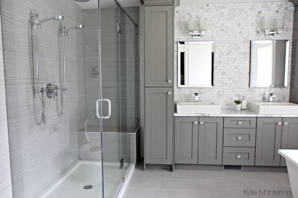 Double vanity bathroom with Calacatta marble Formica 180FX, walk in shower and hexagon marble backsplash by Kylie M Interiors Online Color and Decorating Consultant