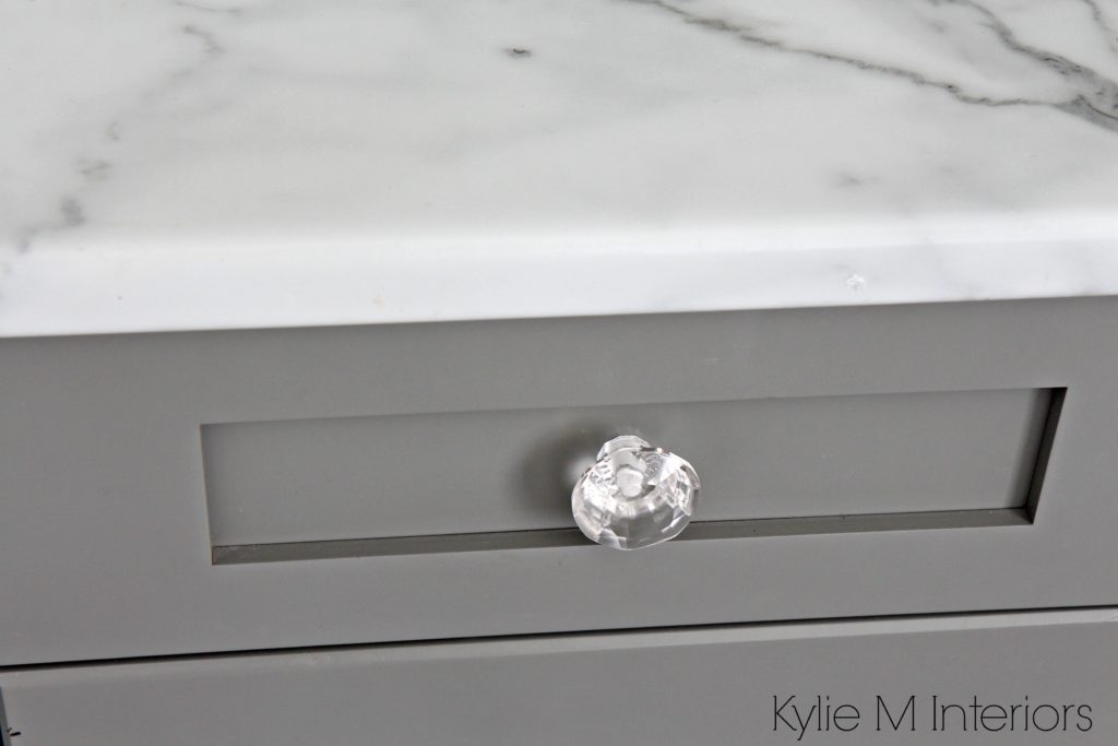 Formica 180Fx Calacatt marble laminate countertop, Chelsea Gray vanity and crystal knobs by Kylie M Interiors E-Design Services