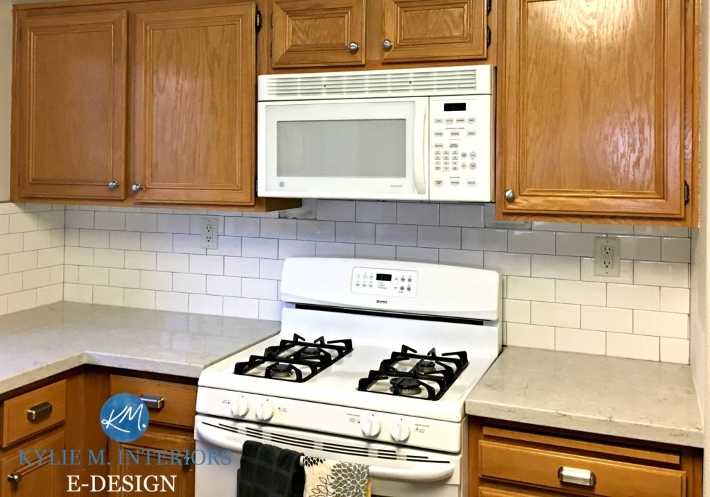Charmant Ideas To Update Oak Kitchen Cabinets With Countertop, Backsplash And  Hardware. White Appliances.