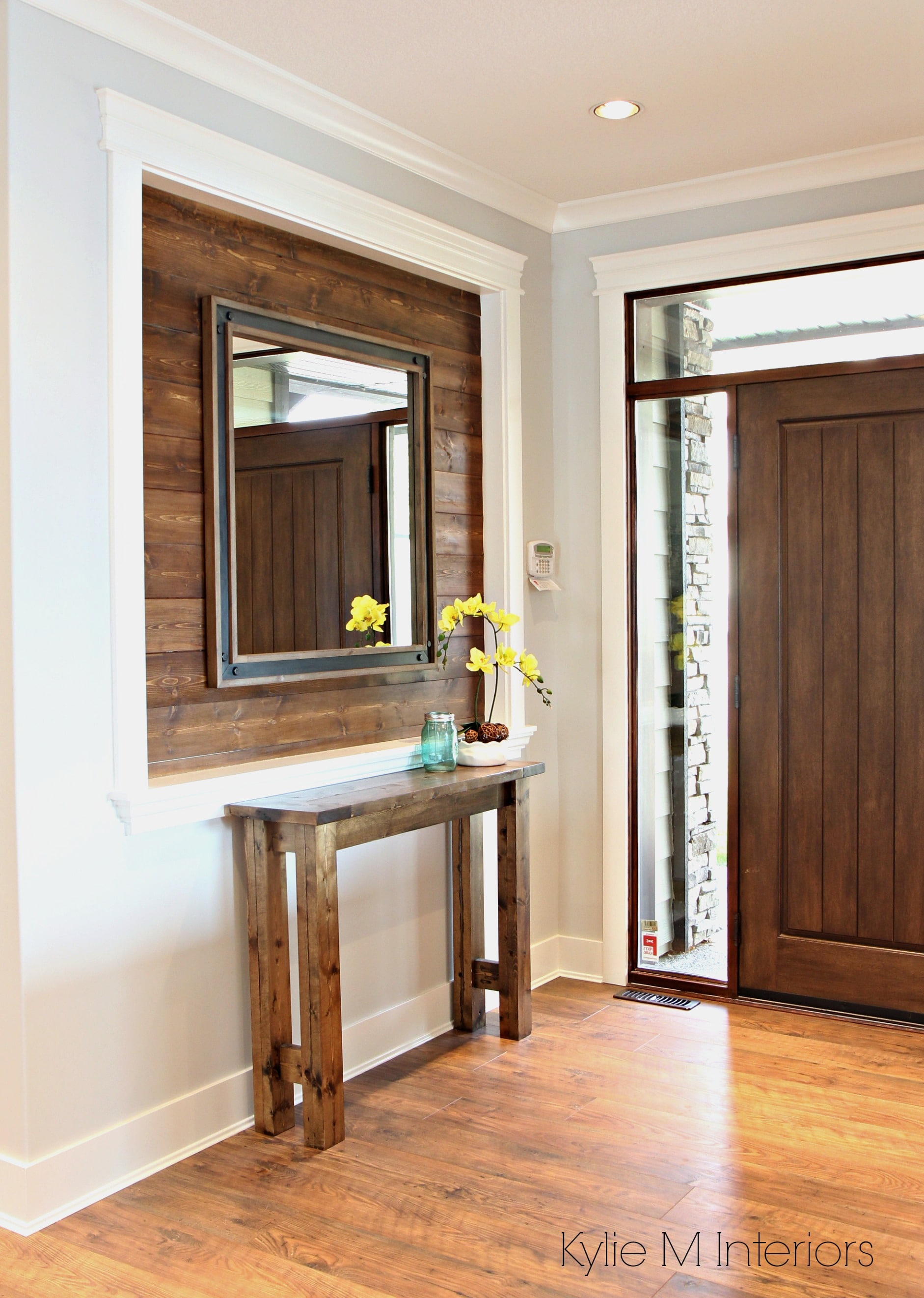 Alcove Or Niche In Entryway Wall Clad In Stained Shiplap
