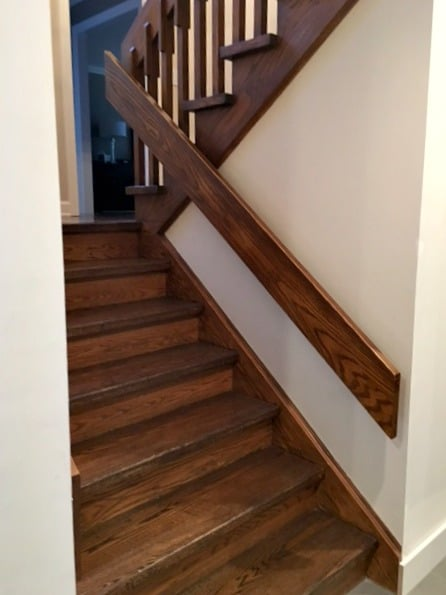 Best paint colours for dark hallway, stairwell with dark wood trim and stairs. Kylie M E-design