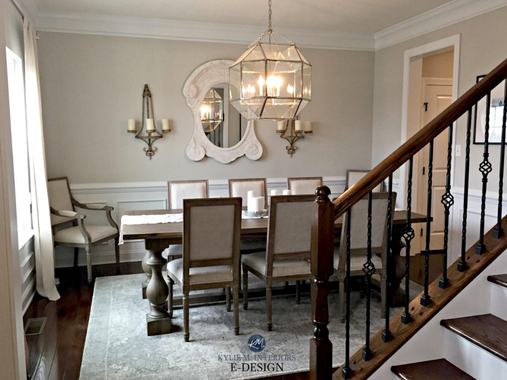 Dining room traditional, slightly country style. Sherwin Williams Agreeable Gray, crown molding, wainscoting. Kylie M INterior E-design, client before image