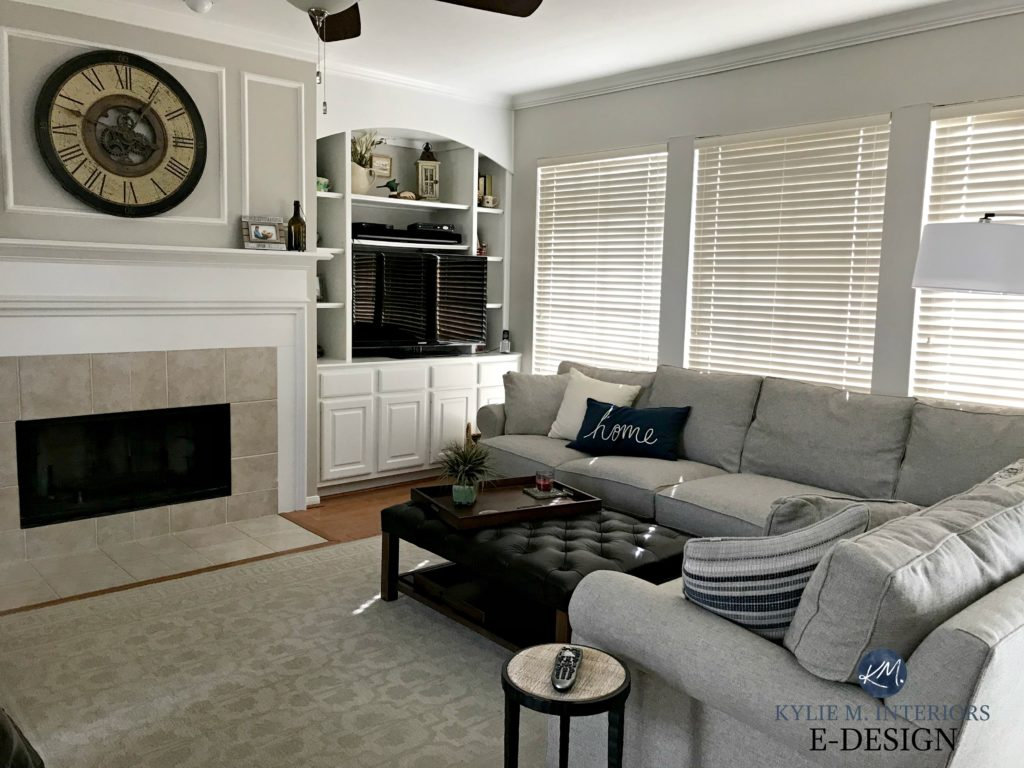 Edesign paint color expert, Kylie M Interiors. Sherwin Williams Agreeable Gray with gray sectional couch