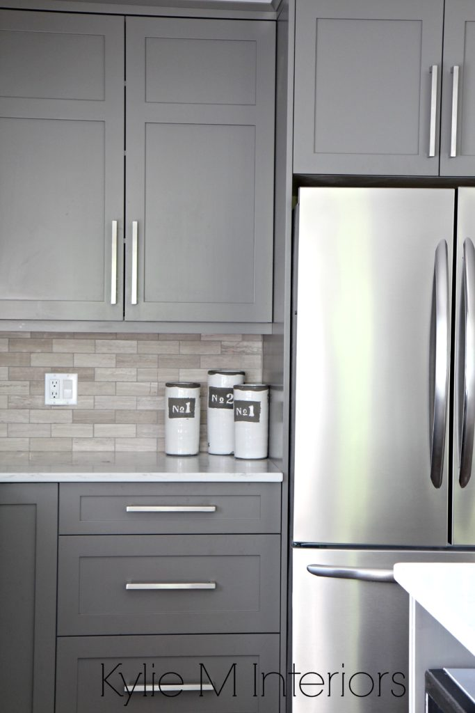 Kitchen Cabinets Paitned Benjamin Moore Amherst Gray, Driftwood Marble  Backsplash With Stainless Steel. Design