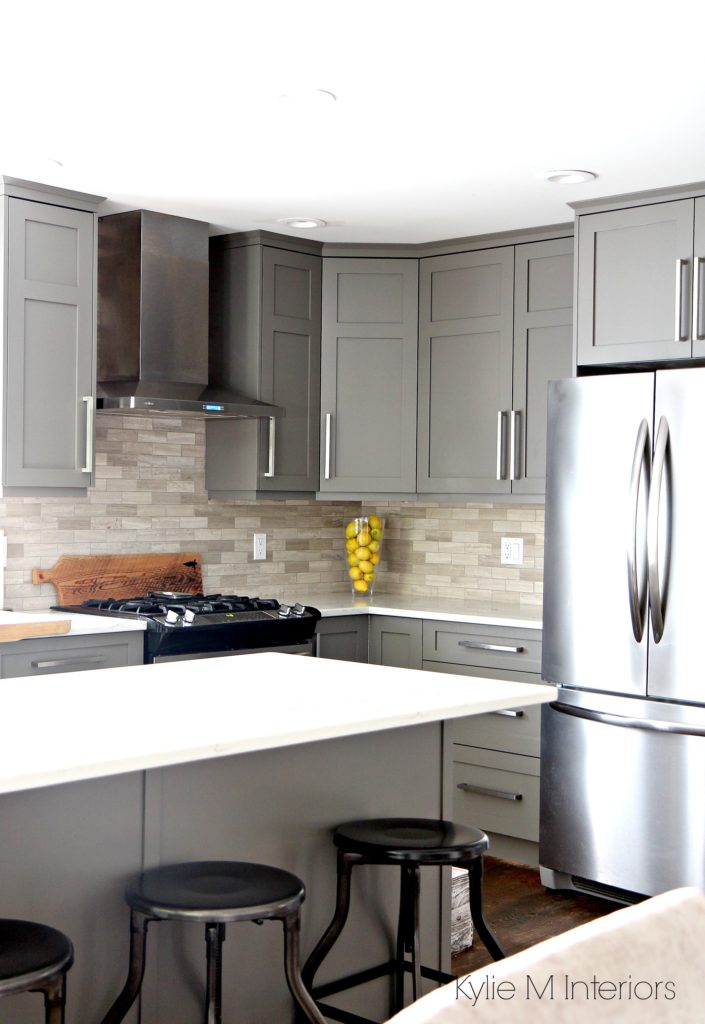 Kitchen Painted Benjamin Moore Amherst Gray With White Quartz Countertops And Driftwood Marble