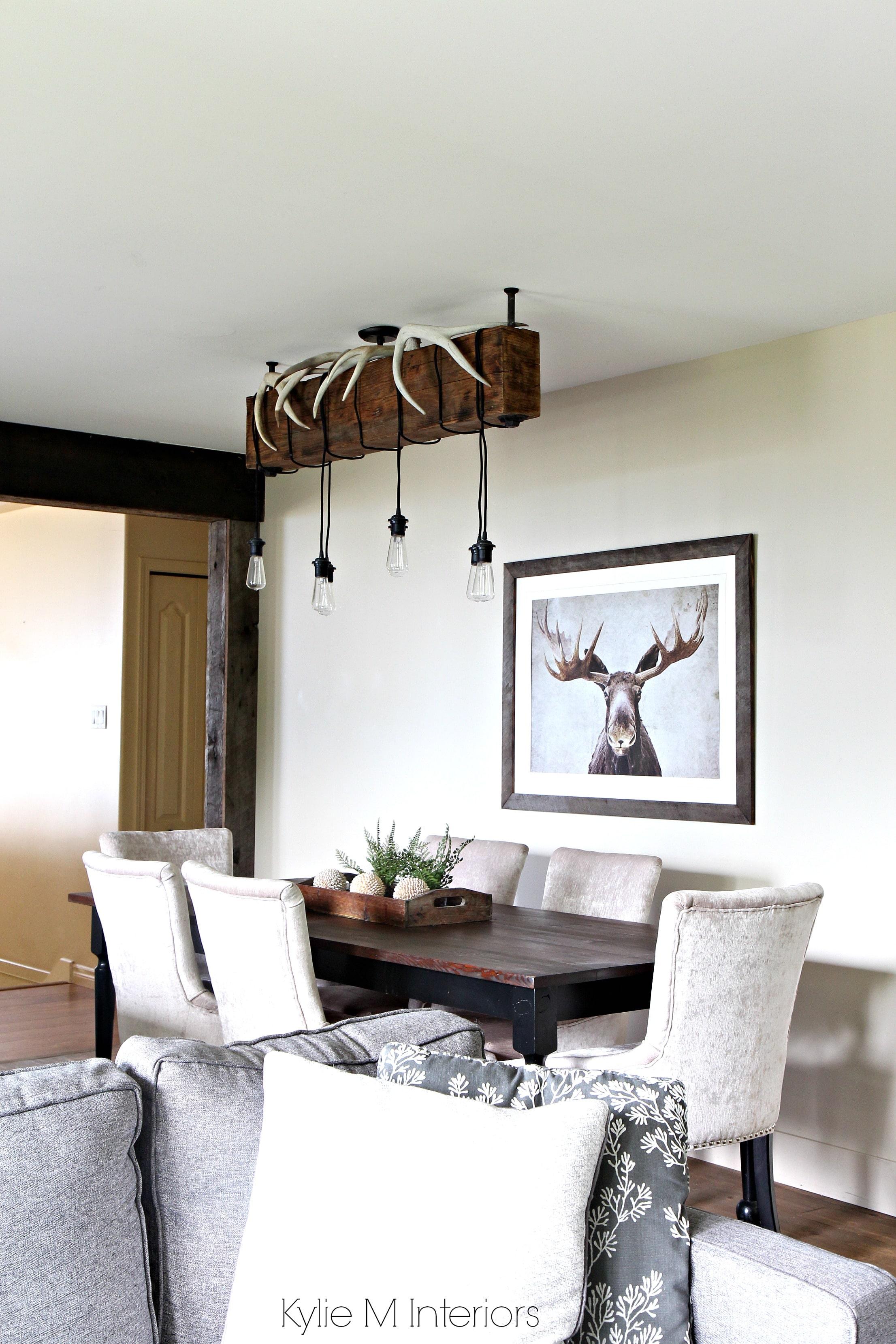 Rustic country or hunting decor in a dining room. Benjamin Moore ...