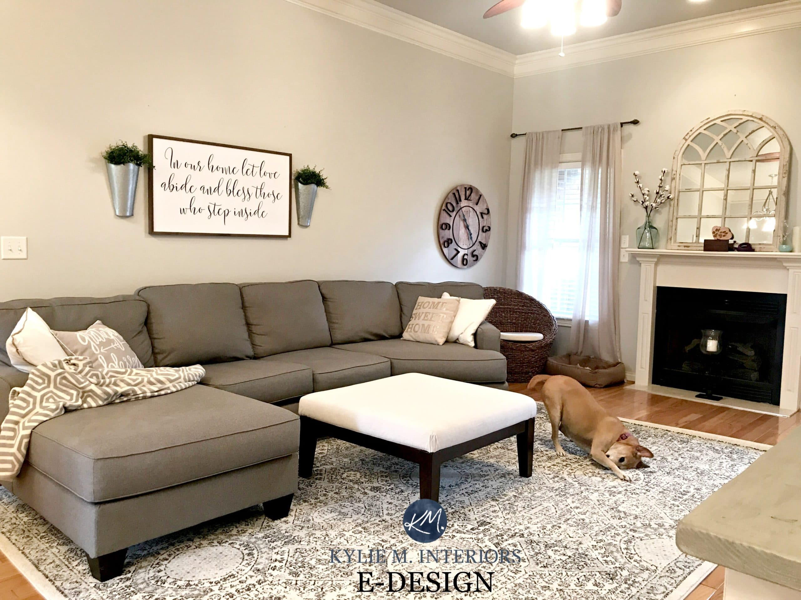 https://www.kylieminteriors.ca/wp-content/uploads/2016/06/Sherwin-Williams-Agreeable-Gray-in-living-room-with-gray-sectional-couch-area-rug-fireplace-mirror.-KYlie-M-E-design-and-Online-Color-consulting.jpg