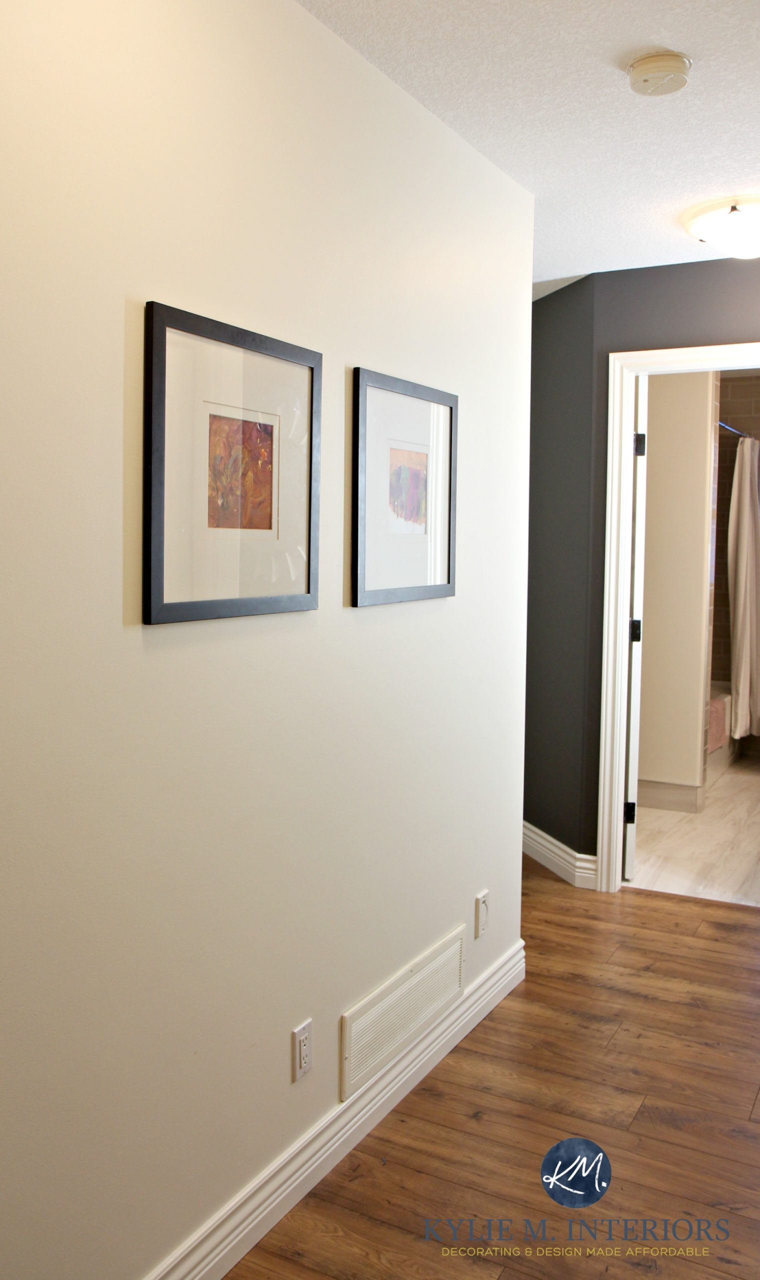 Williams Creamy In A Dark Hallway With Benjamin Moore Gray Feature Wall Or Accent Kylie M Interiors Laminate Wood Flooring And Cloud White Trim
