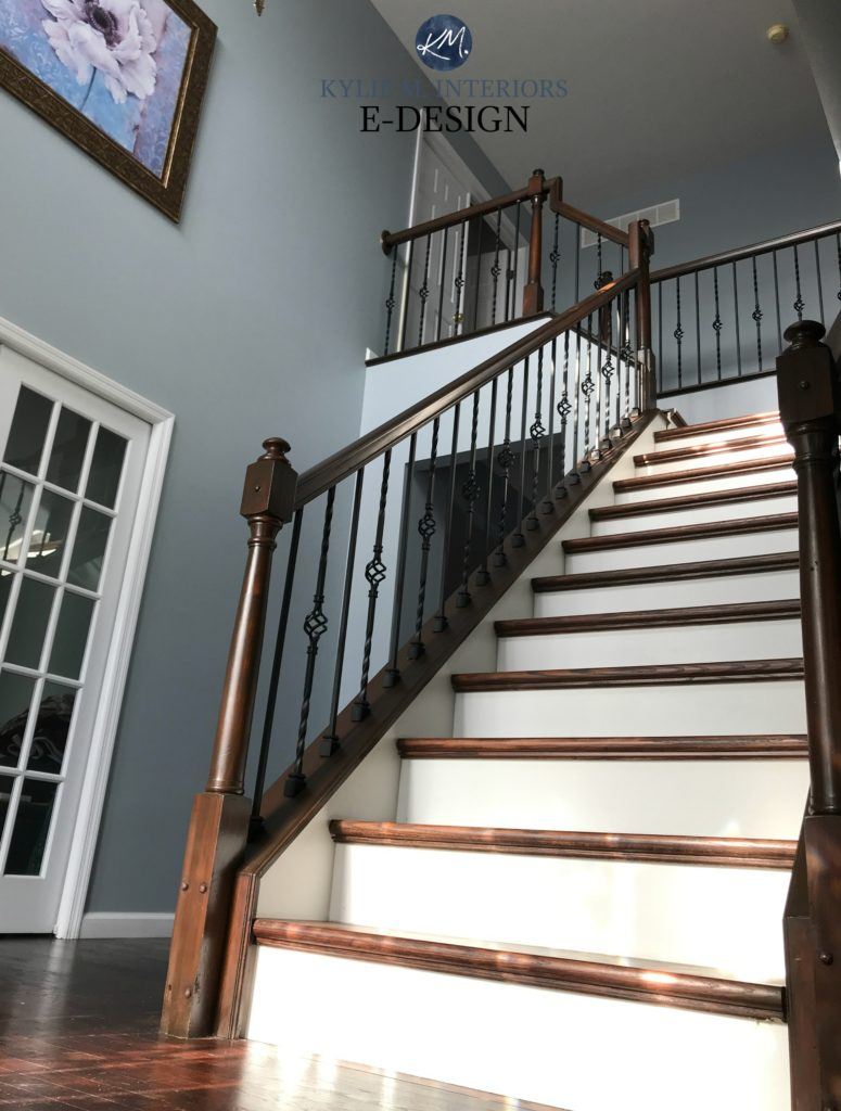 Sherwin Williams Jubilee in 2 storey entryway foyer with dark wood railing and stairs. Best cool blue gray paint colour. Kylie M Interiors edesign