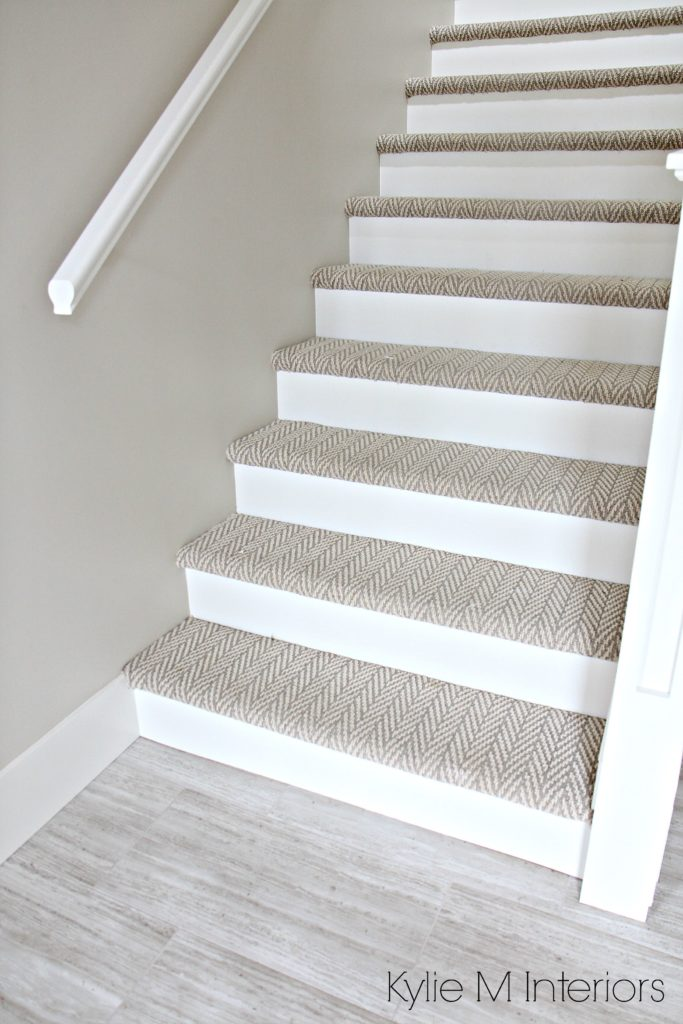 Stairs with carpet herringbone treads and painted white for Painted stair treads