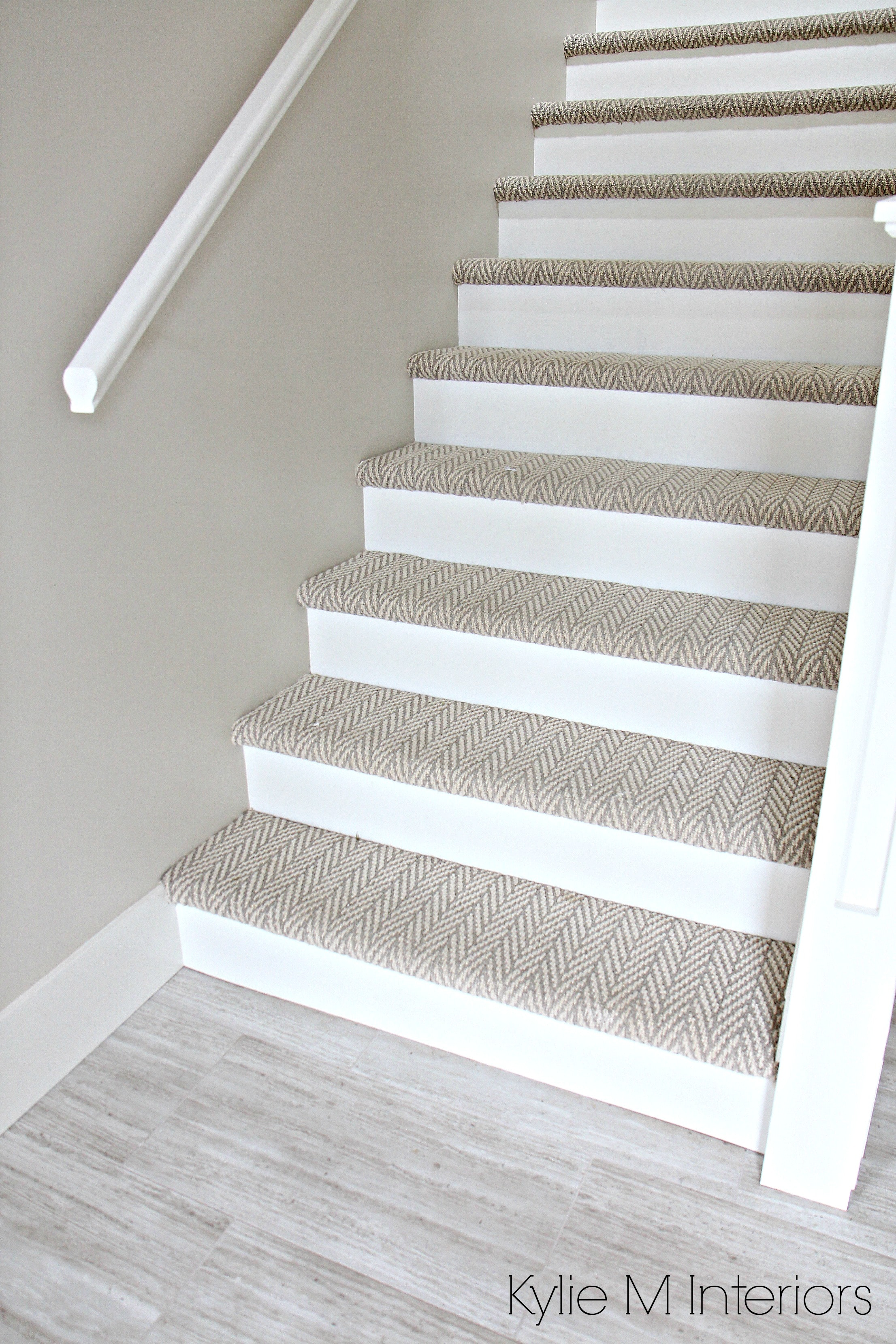Stairs With Carpet Herringbone Treads And Painted White Risers