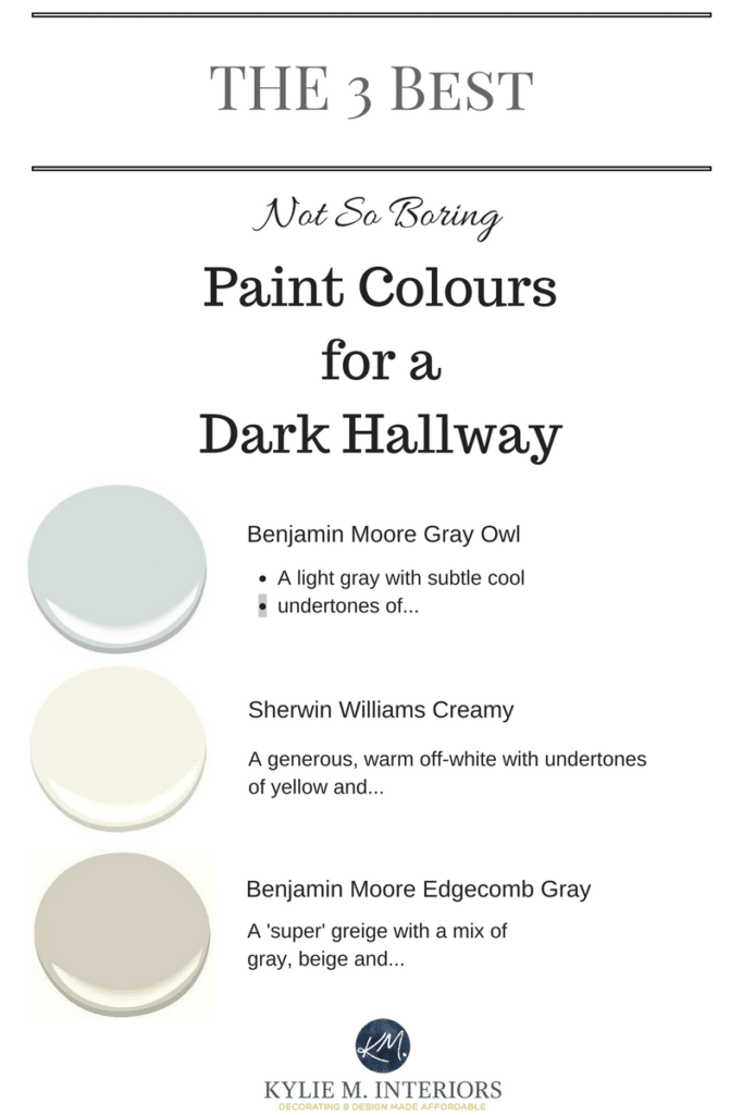 The 3 best light neutral and not boring paint colours for a dark hallway or stairwell by kylie Best paint colours