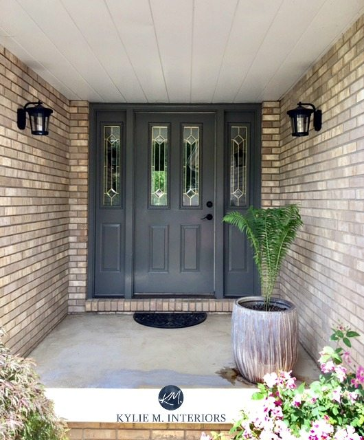 Amherst Gray Benjamin Moore front door with brick on exterior. Kylie M INteriors color expert, Online Colour consultant and e-design