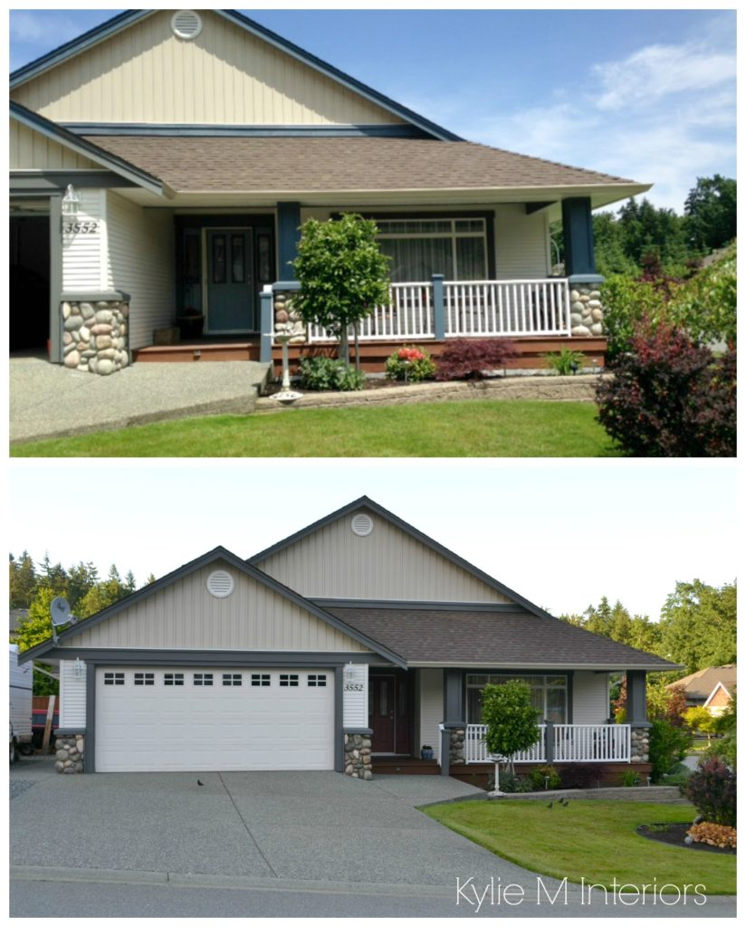 Exterior before and after paint palette with Chelsea Gray trim and beige vinyl siding by Kylie M INteriors E-decor