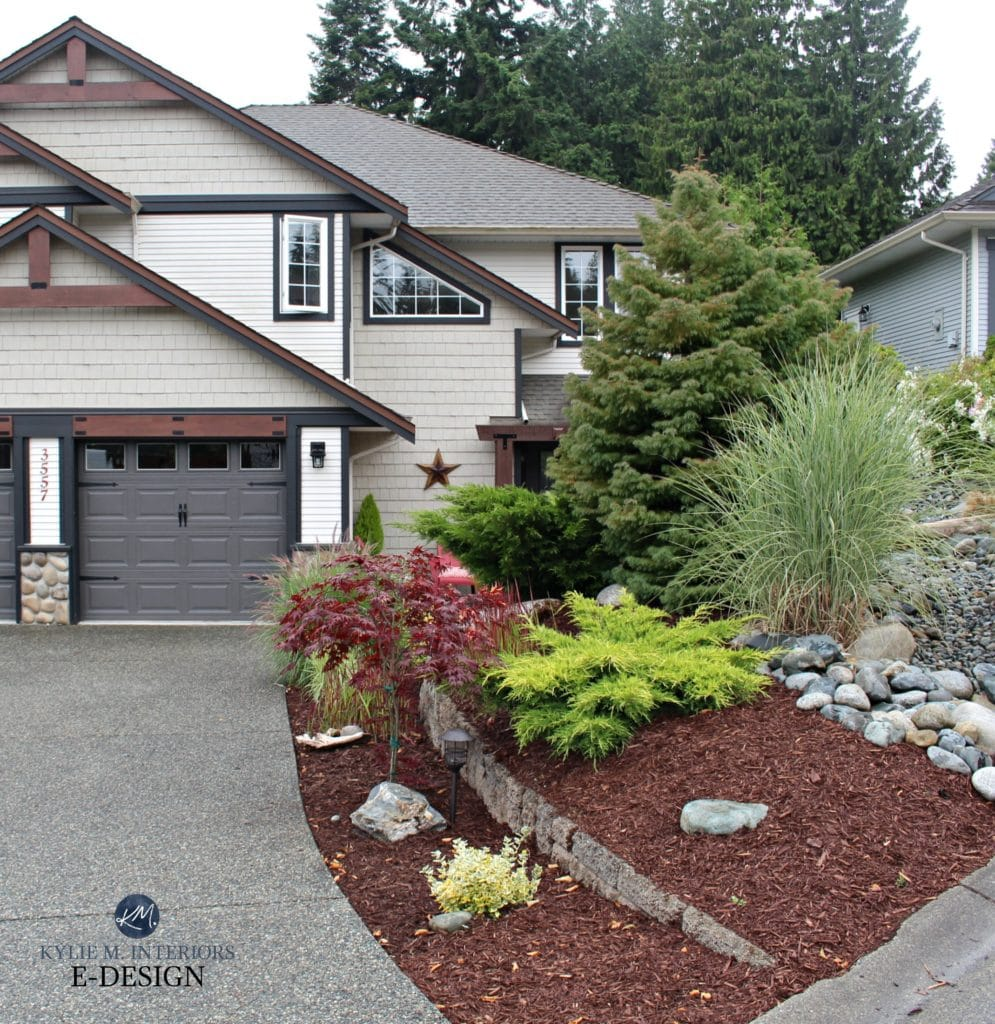 Exterior palette, beige and cream vinyl siding, shakes, black trim, stone. Kylie M E-design