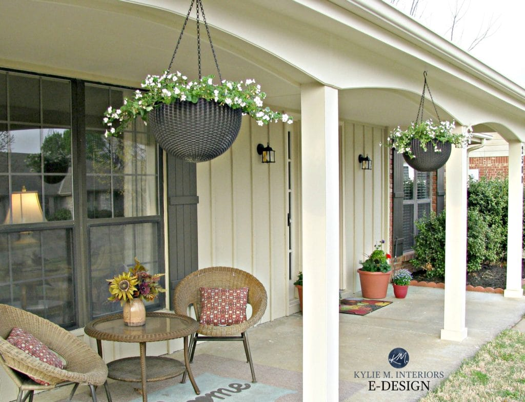 Exterior palette, creamy tan, Benjamin Moore Willow, ranch style home. Kylie M E-design